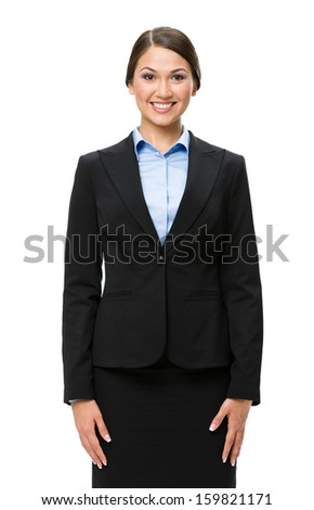 Half-length portrait of businesswoman, isolated. Concept of leadership and success - stock photo