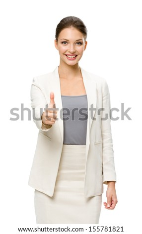 Half-length portrait of businesswoman who thumbs up, isolated on white. Concept of leadership and success - stock photo