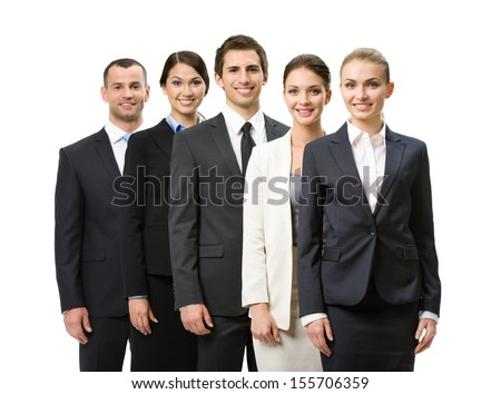 Half-length portrait of group of business people, isolated on white. Concept of teamwork and cooperation - stock photo