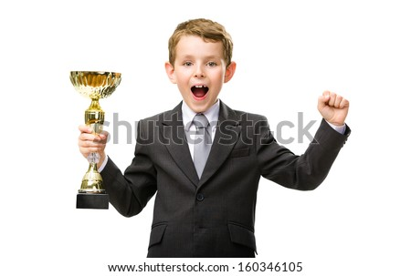 Half-length portrait of little manager handing golden cup and happy gesturing, isolated on white. Concept of leadership and success - stock photo