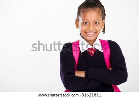half length portrait of primary schoolgirl - stock photo