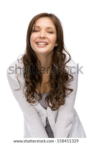 Half-length portrait of woman laughing, isolated on white - stock photo