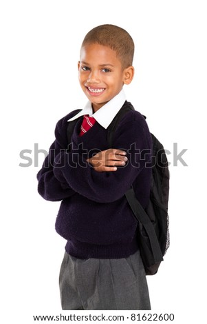 half length portrait of young elementary pupil - stock photo
