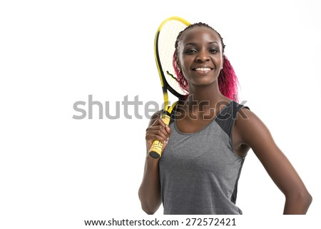 Half length portrait of young woman playing tennis on a dross field. Healthy lifestyle. Isolated white background - stock photo