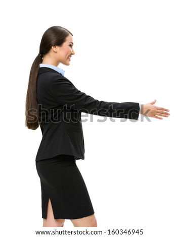 Half-length profile of businesswoman handshake gesturing, isolated on white. Concept of leadership and cooperation - stock photo
