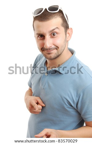 half length shot of a young man in yellow shirt, isolated on white - stock photo