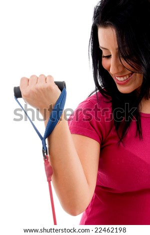 half-length view of female exercising with rope on an isolated white background - stock photo