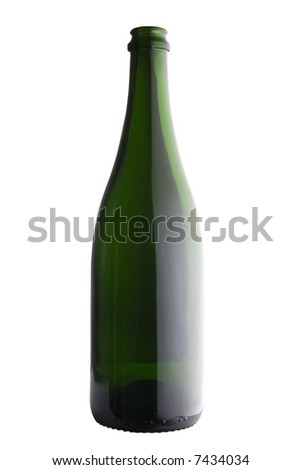 Half lit empty champagne bottle