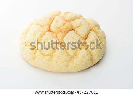 half-melon shaped bun, melon pan - stock photo