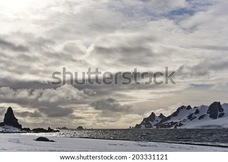 Half Moon Bay, Antarctica - stock photo