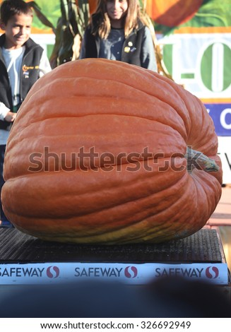 HALF MOON BAY, CA - OCTOBER 2015 - Kids stand next to a giant pumpkin at the 45th annual Pumpkin Weigh-Off contest in Half Moon Bay, California.  - stock photo