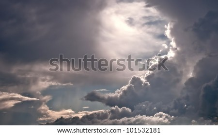 Half Moon Shaped cloud formation - stock photo