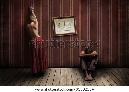 Half-naked woman and man in the room - stock photo