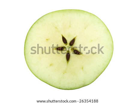 Half of a green apple with five seeds. Equatorial cut - stock photo