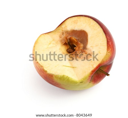 half of a rotten apple against white background, shadow at the left side