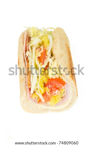 Half of an Italian Sub Sandwich Isolated on a White Background