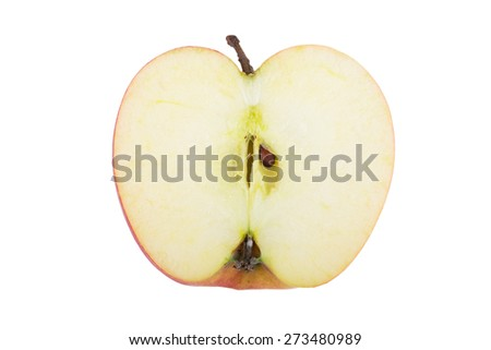 Half of apple isolated on a white background.