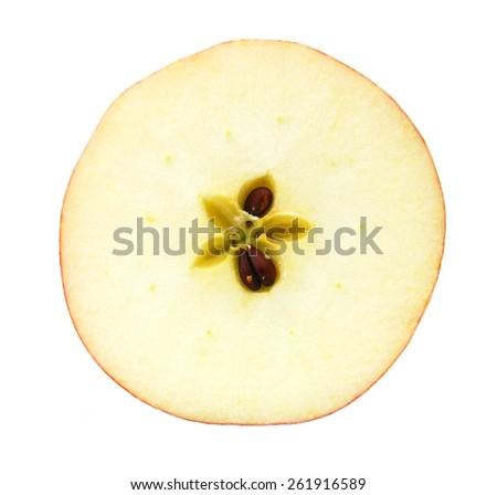 Half of apple with green leaf isolated on white background