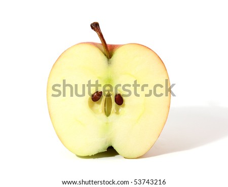 Half of apple with shadow isolated over white