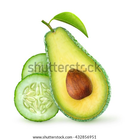 Half of avocado fruit and cucumber slices (cosmetics ingredients) isolated on white - stock photo