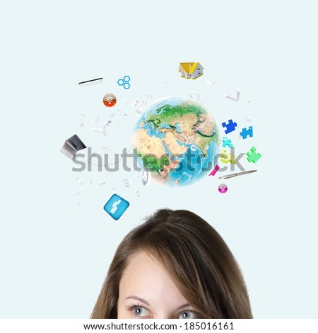Half of face of businesswoman with business items above head. Elements of this image are furnished by NASA - stock photo