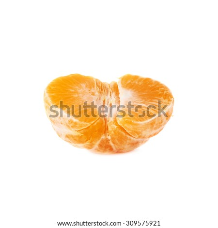 Half of fresh juicy peeled cleaned tangerine ripe fruit isolated over the white background