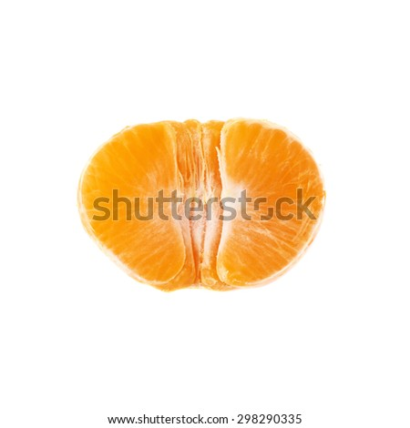 Half of fresh juicy peeled cleaned tangerine ripe fruit isolated over the white background, top view - stock photo