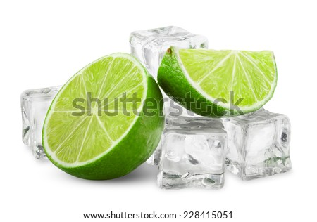 Half of fresh lime with ice cubes on white background. Clipping Path - stock photo