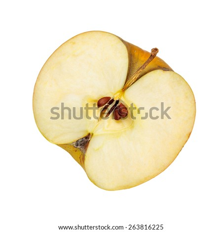 Half of fresh organic apple isolated over white background - stock photo