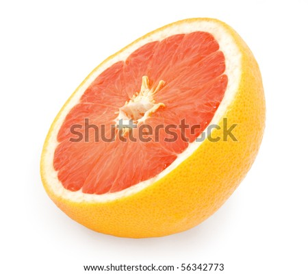half of fresh pink grapefruit isolated on white with clipping path