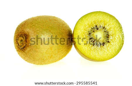 half of gold kiwi fruit isolated on write background - stock photo
