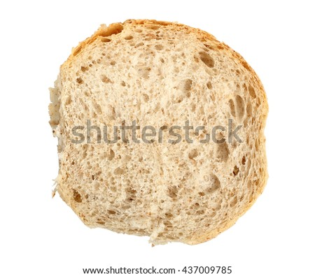 Half of Graham Bread Roll. Isolated on white background. Directly Above. - stock photo