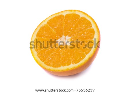Half of juicy fresh orange isolated on white background