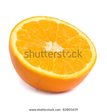 Half of juicy fresh orange isolated on white background - stock photo