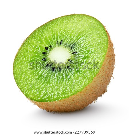 Half of kiwi fruit isolated on white background - stock photo