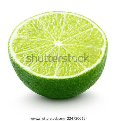 Half of lime citrus fruit isolated on white background with clipping path - stock photo
