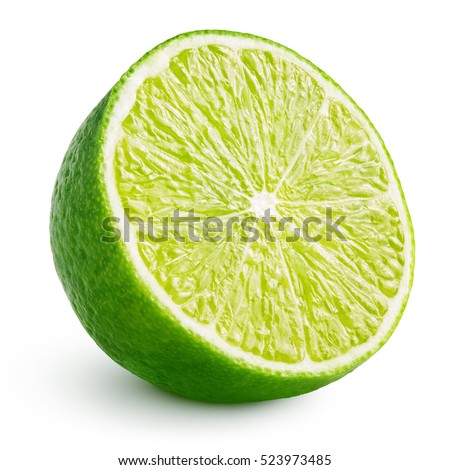 Half of lime citrus fruit (lime cut) isolated on white background. Sliced lime half with clipping path