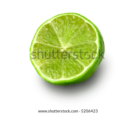 half of lime on white background