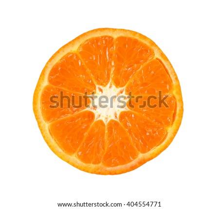 Half of orange fruit isolated on the white background - stock photo