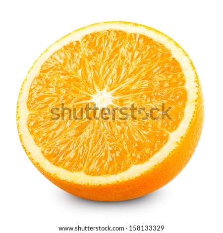 Half of orange isolated on white background - stock photo