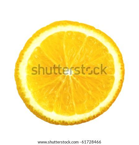 Half of orange isolated on white background - stock photo