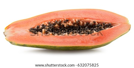 half of papaya isolated on a white background