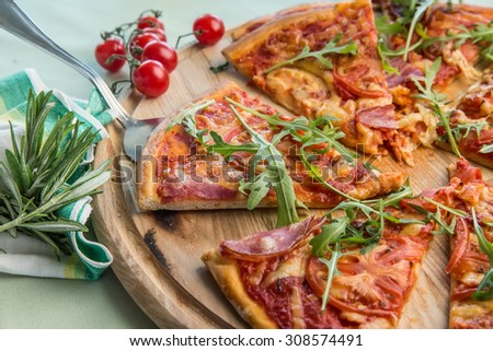 half of pizza - stock photo