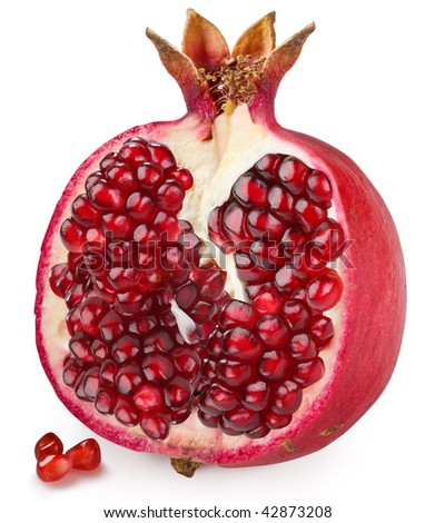 Half of pomegranate on a white background - stock photo