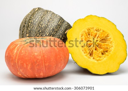 half of pumpkin on the white background - stock photo