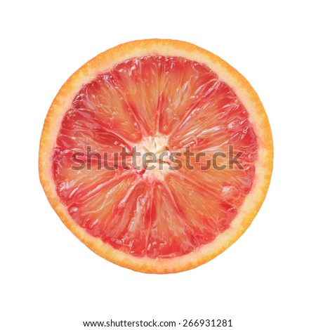 half of ripe blood red orange isolated on white background - stock photo