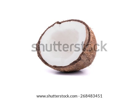 Half of ripe coconut with pulp on a white background