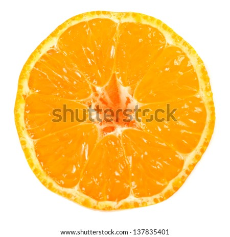 Half of ripe  tangerine (mandarin) isolated on white