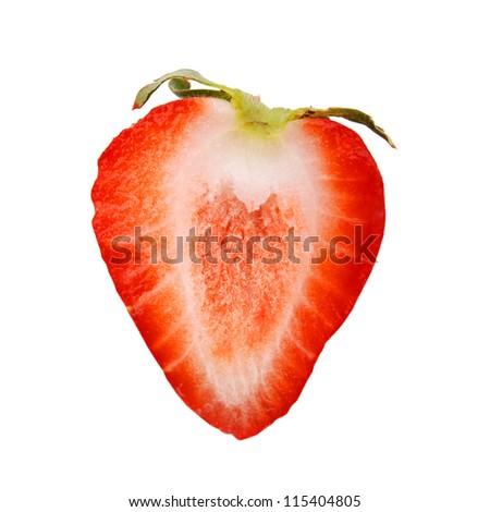 Half of strawberry isolated on white background. - stock photo