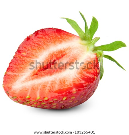 Half of strawberry isolated on white background. Clipping Path  - stock photo